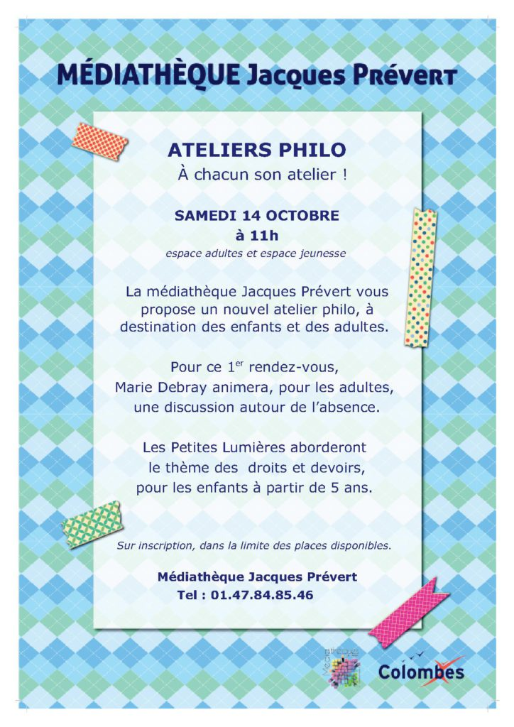 Affiche ateliers philo prevert